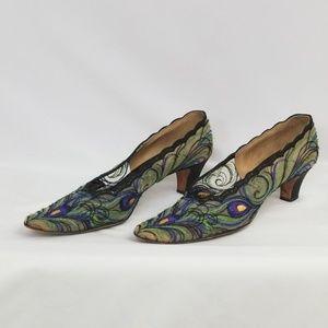 De Liso Debs Vintage peacock heels, sz8.5S
